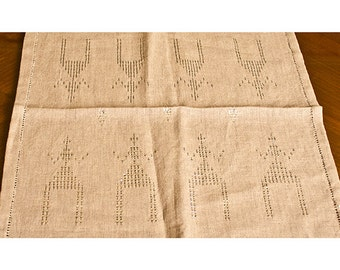 Silver Stiched Linen Table Runner