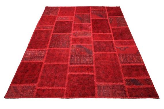 97 x 118 Zoll VINTAGE Patchwork Teppich Teppich rot von