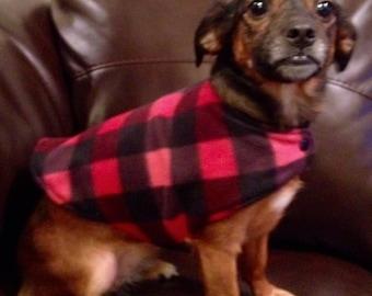 Buffalo Plaid Dog Clothes Size Large, Dog Sweater, Dog Clothes, Red and Black Buffalo Plaid Dog Clothes