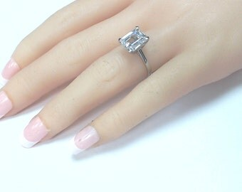 6.00ctw. Emerald Cut Engagement Wedding Ring 14k White Gold