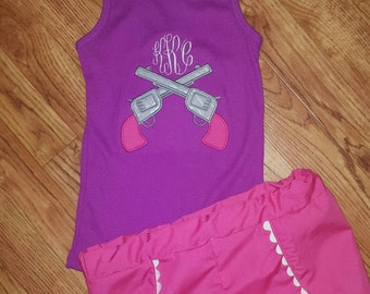 Monogram shirt with revolvers and shorts