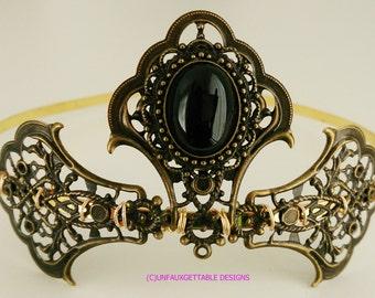Tudor Medieval Jet Black Elaborate Tiara larp ren sca Tudor Wedding