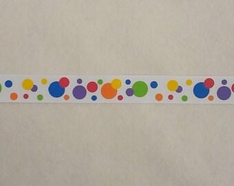 "Rainbow Multi Polka Dots Printed Grosgrain Ribbon, Rainbow Ribbon, Polka Dot Ribbon,  5 yards (15 feet) 7/8"", Circus Ribbon"