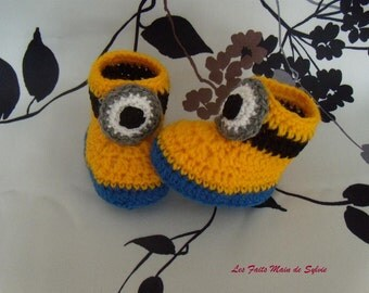 Minions slippers for baby 0/3 months to hook