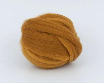 Mustard B185, 1.78oz (50gr) 26mic merino tops felting wool, for needle felting, wet felting, spinning.