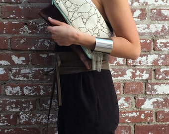 Fold Over Clutch-  Italian Cow Leather- day- evening- Purse