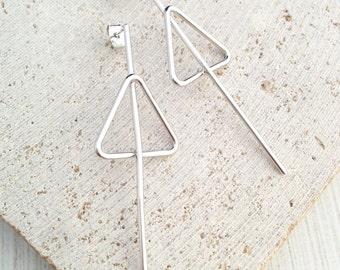 Triangle Earring,Silver Triangle Earring,Triangle Bar Earring,Geo Earring,Silver Geo Earring,Silver Bar Earring,Bar Earring
