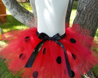 Lady Bug tutu with black bow valentine tutu black polka dot tutu red tutu  costume birthday party dress up infant tutu, toddler tutu