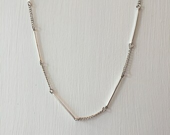 Silver Bar and Chain Long Layering Necklace, Neutral Upcycled Jewelry
