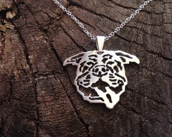 Sterling Silver Pitbull Necklace, Pitbull Necklace, Pitbull Dog, Dog Necklace, Dogs Necklaces, Dogs Gift, Sterling Necklace
