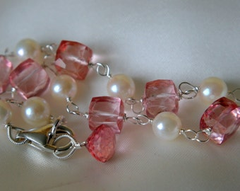 Pink Mystic quartz Akoya pearls charm bracelet Briolette
