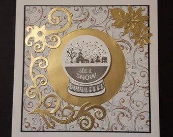 Golden Snow Globe card