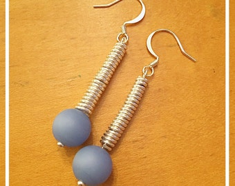 Wire Wrapped Periwinkle Dangle and Drop Earrings