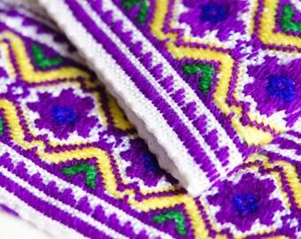 Hmong ribbon 45mm Trim by Metre, Purple Yellow, Hmong Fabric, Embroidered Trim, Ethnic Ribbon, Ethnic Trim, Tribal Trim, Boho Trim by Hmong
