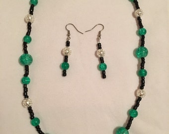 Sparkly green, black and silver set