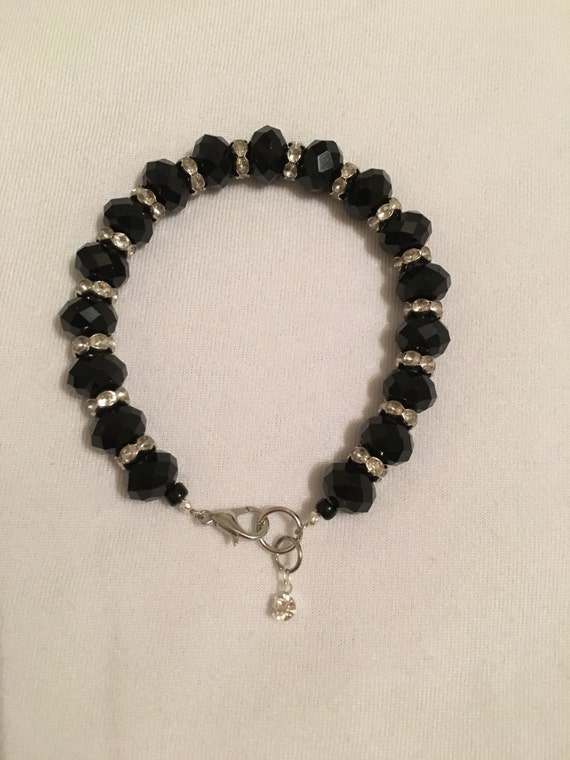 sparkly black beaded bracelet