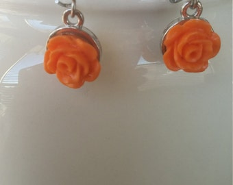 Peach Rose and Silver Earrings