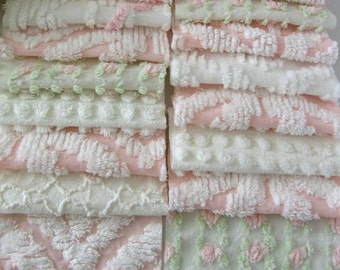 39 Vintage Chenille Fabric Squares 6 inch