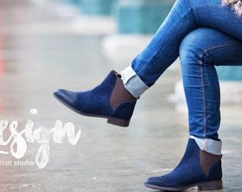 boho chic navy handmade boots