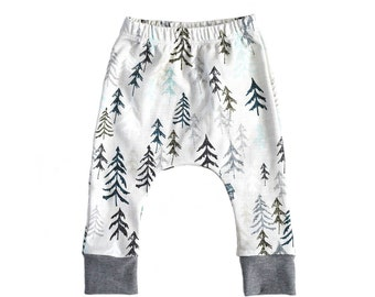 organic cotton baby leggings, pine tree baby leggings, modern baby leggings