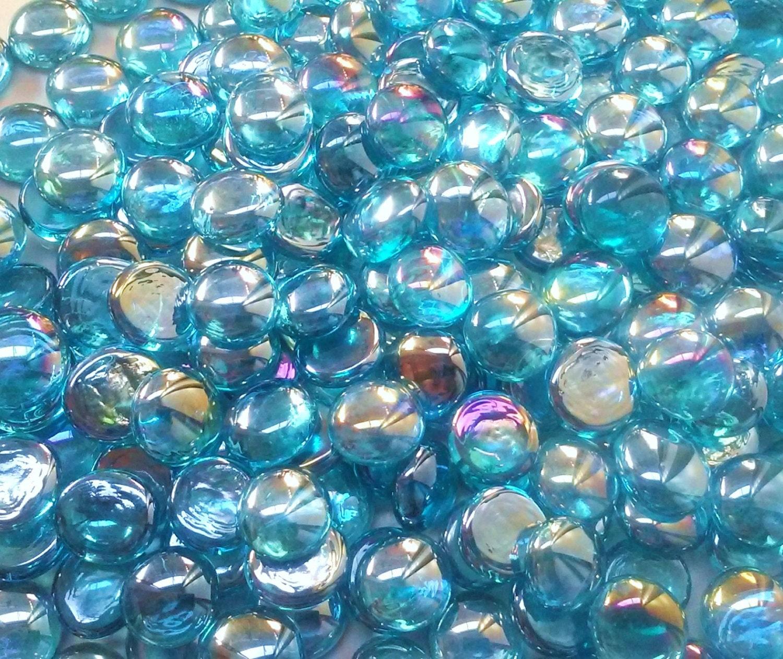 Light blue irid glass gems stones mosaic pebbles