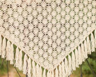 Crochet Lace Shawl - Cream Shawl - Bridesmaid Shawl - Fringed Boho Shawl - Hand Crochet Wrap - Almond Wrap