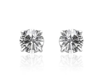0.62 Carat Round Diamond Stud Earrings 14K White Gold