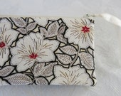 XX-Small Quilted Zipper Bag Coin Purse with a Hibiscus Design in Black White and Red