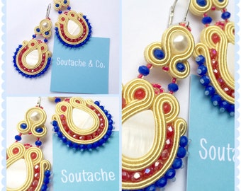 Hand stitched with soutache earrings! Customizable colors