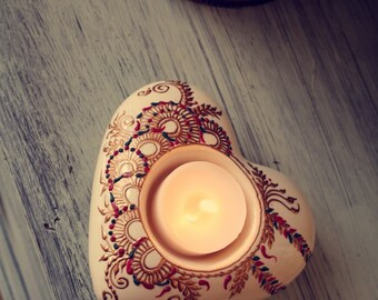 ceramic heart shaped hand decorated candle holder