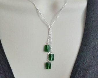 Swarovski crystal moss green sterling silver lariat necklace