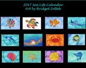 2017 Calendar, turtle calendar, Salt Life, Marine Animals, Beach calendar, sea life calendar, sea turtle, starfish, fish, swordfish