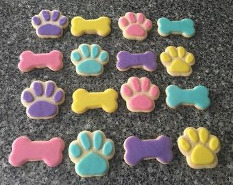 Paw Patrol Themed Sugar Cookies ( One Dozen) Paw Prints & Dog Bones