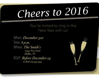 Customized New Year's Party Banner, Invitation, and Name Cards/ New Year's Party Kit