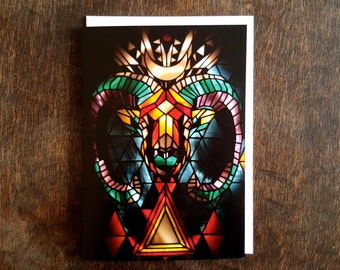 Aries, Ram Greetings Card, A5, Blank Card, Psychedelic, Free UK shipping, Horned Ram, Stained Glass, Occult, Folk, Animal Lover, Colourful
