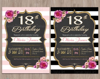 18th birthday invitations | Etsy