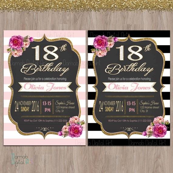 18th birthday invitations 18th birthday party invitations like this item stopboris Gallery