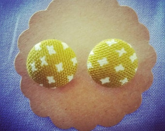 Handmade 15mm mustard yellow button earrings