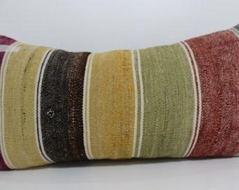floor pillow 12x24 multicolour pillow striped kilim pillow Antique Pillow Ethnic pillow home decor boho pillow cushion cover SP3060-651