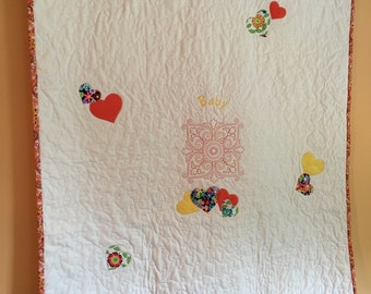 Heart White Baby Quilt