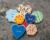 8 Assorted Bright Ceramic Buttons, Ceramic Button Mix, Handmade Buttons