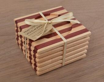 Set of 4 - Handmade Fine Wood Coasters