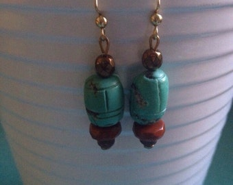 Turquoise and brown bead dangle hook earrings
