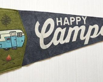 Happy Camper Pennant - Grey