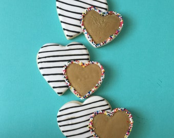 Striped Double Heart Cookies