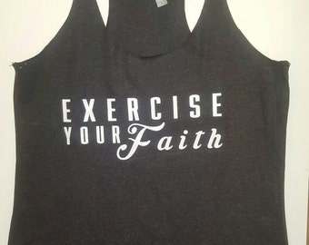 Workout, Tank, Exercise Your Faith, Workout RacerBack- Dark Grey