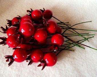 Deep Red Pomegranate Glass Fruit Picks in a Package of 20