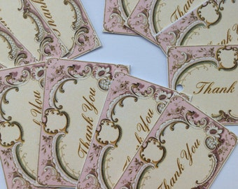 Wedding favour Small Pink and Cream Tags Thank You Tags Wishing Tree Tags Shabby Chic Pack of 20