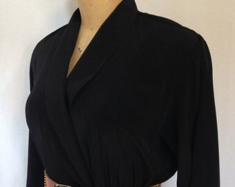 1980s black dress with shawl collar by FTLTD size 8