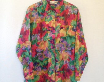 1990s multicolored silk blouse by SILTERO sz M
